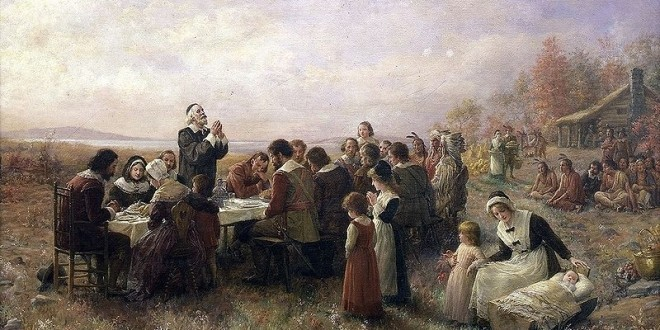 The First Thanksgiving at Plymouth by Jennie Brownscombe