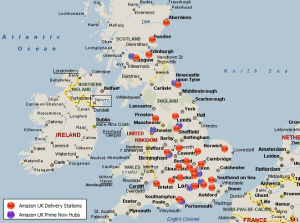 Amazon operates 174, distribution and delivery centers in the UK and EU.