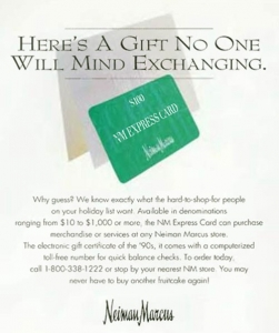 1974 Neiman Marcus gift card ad