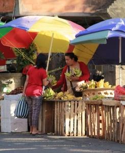 shopping at a local market